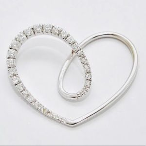 18k White Gold Diamonique Large Open Heart Pendant